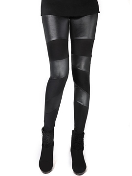 Ericdress Fashion PU Patchwork Leggings Pants
