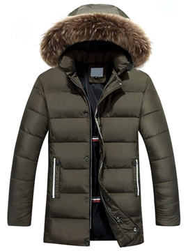 Ericdress Thicken Warm Fur Collar Men's Winter Coat