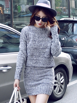 Ericdress Plain Long Sleeve Sweater Bodycon Suit