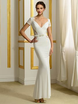Ericdress Charming V Neck Short Sleeves Backless Mermaid Wedding Dress