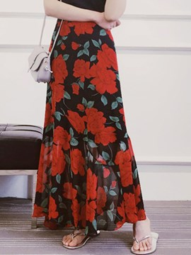 Ericdress Asymmetric Print Skirt