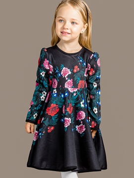 Ericdress Cut Sleeve Floral Printed Pleated Girls Dress
