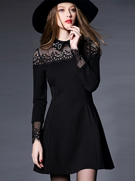Ericdress Hollow Lace Lapel Little Black Dress