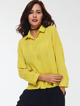 Ericdress Yellow Loose Casual Blouse