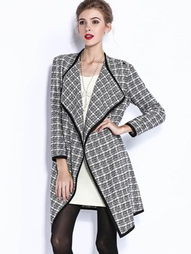 Ericdress Slim Plaid Trench Coat
