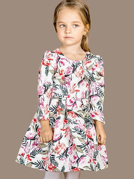 Ericdress Tropical Plants Printed Pleated Girls Dress