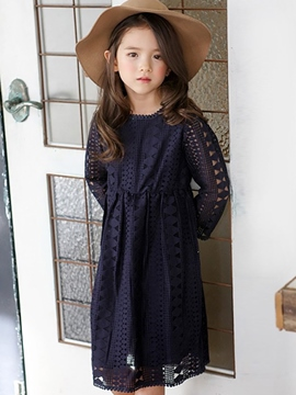 Ericdress Hollow Plain Girls Dress