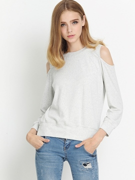 Ericdress Casual Loose Solid Color Off-Shoulder T-Shirt