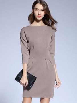 Ericdress Solid Color Pleated Three-Quarter Sleeve Bodycon Dress