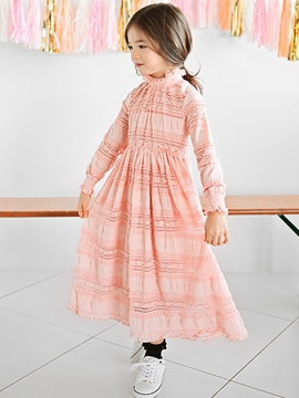 Ericdress See-Through Lace Stand Collar Girls Dress