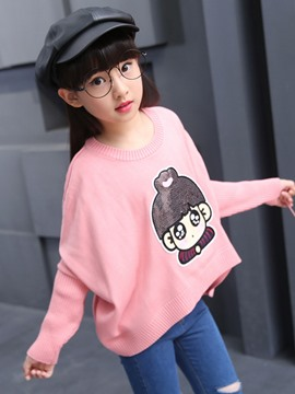 Ericdress Sequins Embroidery Knitting Batwing Sleeve Girls Top