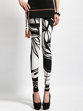 Ericdress Black And White Print Patchwork Leggings Pants