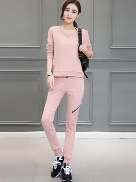 Ericdress Solid Color Hoodie Sports Suit
