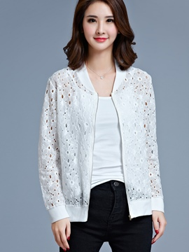 Ericdress Solid Color Hollow Casual Jacket