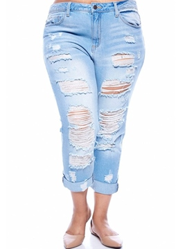 Ericdress Solid Color Hole Jeans