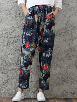 Ericdress Chinese Floral Print Pants