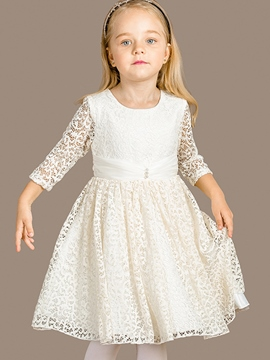 Ericdress Hollow Lace Princess Girls Dress