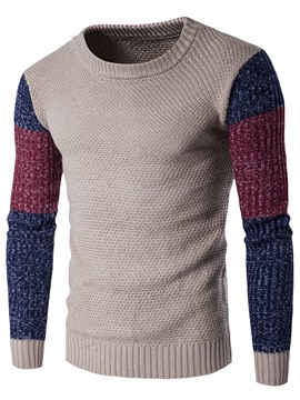 Ericdress Color Block Crew Neck Vogue Men's Sweater