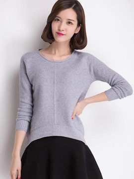 Ericdress Asymmetric Plain Knitwear