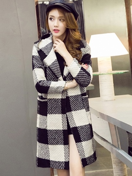 Ericdress Color Block Plaid Hooded Coat