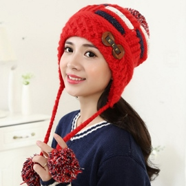 Ericdress Lovely Button Decorated Knitted Cap