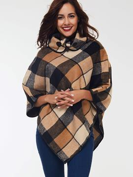 Ericdress Color Block Plaid Casual Cape