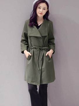 Ericdress Solid Color Turn-Down Slim Trench Coat
