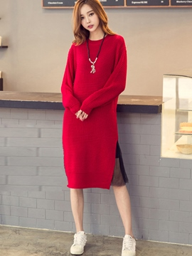 Ericdress Mesh Knitting Long Sleeve Sweater Dress