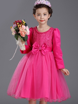 Ericdress Bead Collar Lace Patch Bow-Belt Girls Dress