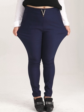 Ericdress Solid Color Plus Size Pants