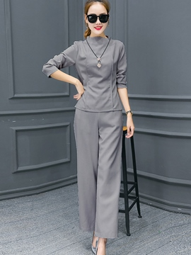 Ericdress Solid Color Wide Legs Pants Suit