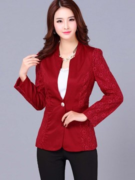 Ericdress Solid Color Slim Lace Patchwork Plus Size Blazer