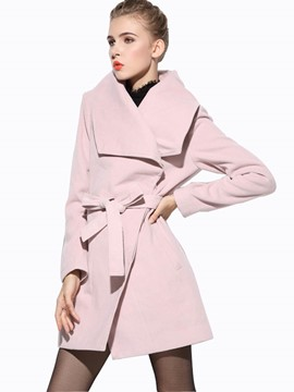 Ericdress Solid Color Turn-Down Slim Coat