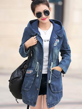 Ericdress Slim Hooded Denim Outerwear