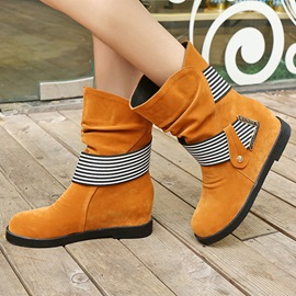Ericdress Unique Stripe Patchwork Flat Ankle Boots