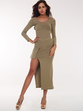 Ericdress Unique Solid Color Skirt Suit