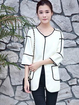 Ericdress Color Block Pocket Casual Trench Coat