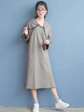 Ericdress Solid Color Loose Hooded Casual Dress