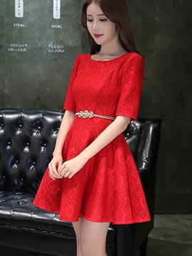 Ericdress Plain Short Sleeve Expansion Casual Dress