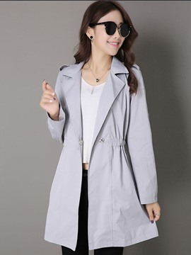 Ericdress Solid Color Polo Slim Trench Coat