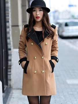 Ericdress Color Block Double-Breasted Coat