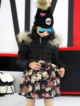 Ericdress Floral Patchwork Hooded Girls Puffer Coat