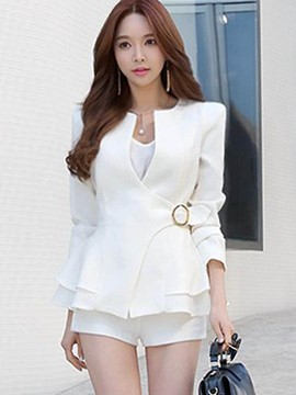 Ericdress Solid Color Slim Belt Frill Blazer