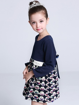 Ericdress Printing Patch Flap Belt Girls Dress