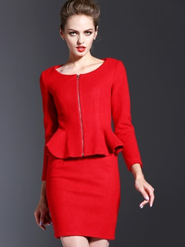 Ericdress Fashion Frill Outerwear Suit