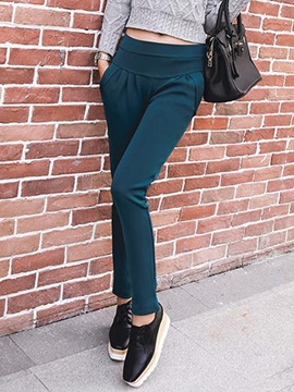 Ericdress Thick Solid Color Casual Pants