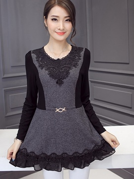 Ericdress Lace Panel Pelplum T-Shirt