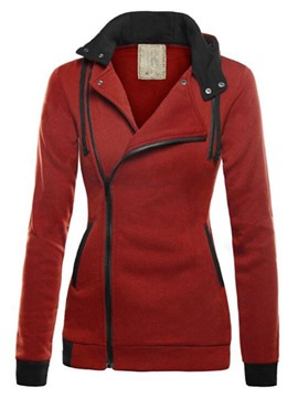 Ericdress Casual Color Block Slim Asymmetric Cool Hoodie