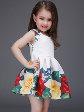 Ericdress Floral Printed Jacquard Pleated Girls Dress