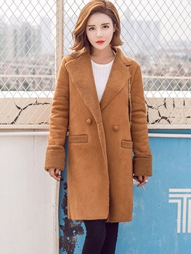 Ericdress Straight Double-Breasted Plain Coat